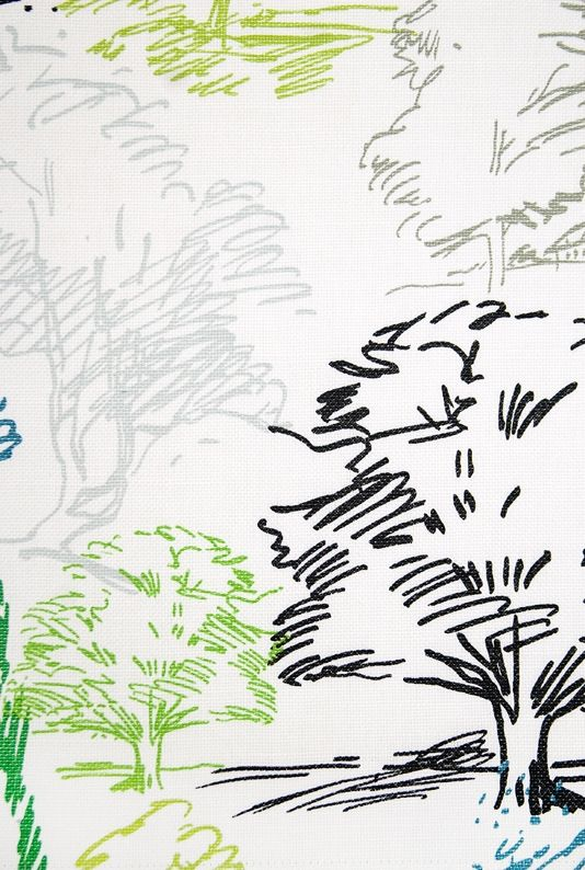 Aspen Fabric Large weave cream cotton fabric with Contemporary sketched tree design in black grey and green. Suitable for Curtains and General Domestic Upholstery.
