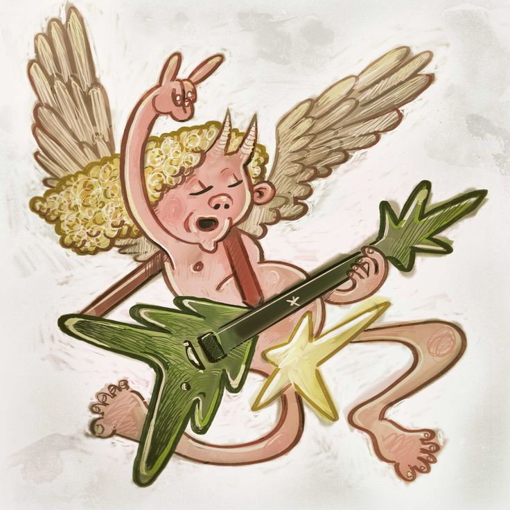 Angel with flying xmas guitar