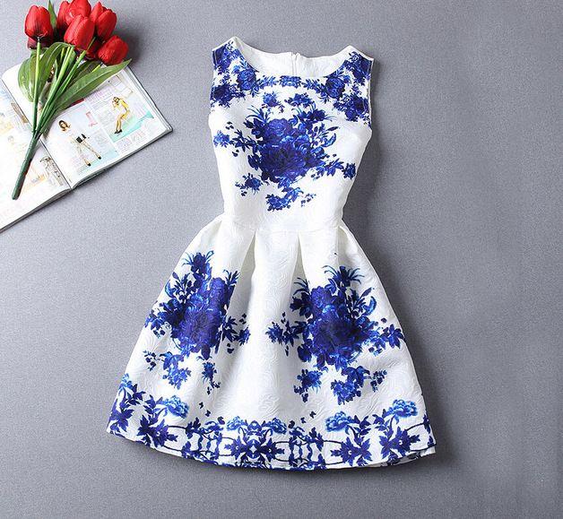 Minikleider - Frauen-Blau-Muster Kurzes Kleid - ein Designerstück von DIYtime bei DaWanda