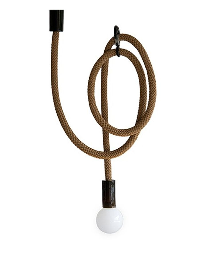 A long scroll of the Hook Line Lamp and industrial hook allow the light to be positioned at least at two points. It can be used both as a central light or as a sconce lamp on the wall. A 3 metre rope allows decorative knots and loops to be tied. A steel hook emphasizes the industrial character of the light.