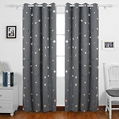 Deconovo Stars Foil Printed Thermal Insulated Ready Made Curtains Eyelet Blackout Curtains for Children 46 x 90 Inch Grey One Pair