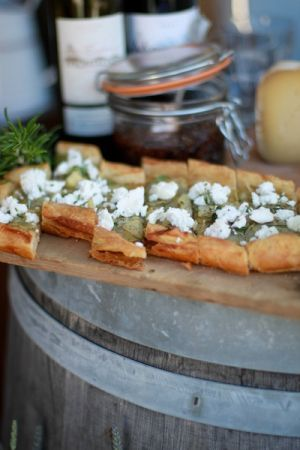Pastries with potatoes, chevre, garlic and thyme