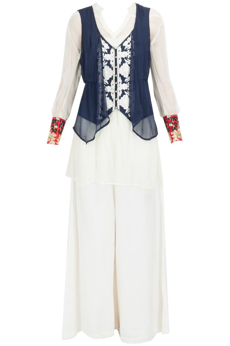 Navy double layer jacket with white tunic and palazzo BY AHARIN INDIA. Shop the designer now at: http://www.perniaspopupshop.com/ #indian #aharin #india #designer #ethnic #amazing #beautiful #amazing #gorgous #perniaspopupshop #happyshopping
