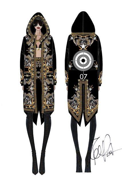 Los figurines de los nuevos trajes de Rihanna por Riccardo Risci el GRANDE :) Rihannas´s Givenchy couture tour costumes by Riccardo Tisci the GREAT :) #cool