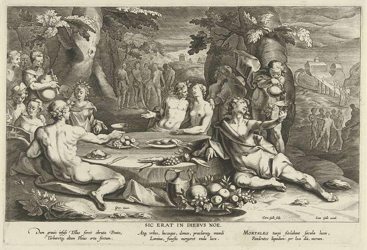 Cornelis Galle (I) | Zondig leven in de dagen van Noach, Cornelis Galle (I), Joannes Galle, c. 1612 - c. 1676 | Jonge mensen genieten van een banket in de openlucht. Halfnaakte mannen en vrouwen zitten aan een lage ronde tafel, drinken wijn en vrijen. Links speelt een man op een doedelzak. Rechts op de achtergrond is de ark van Noach te zien. De straf voor het zondige leven van de jeugd is de zondvloed.