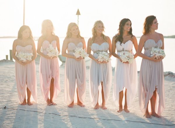 Beach Bridesmaids Dresses | photography by http://www.ktmerry.com/ LOVE these for bridesmaids dresses! Maybe add one some straps for those who need/want them. <3