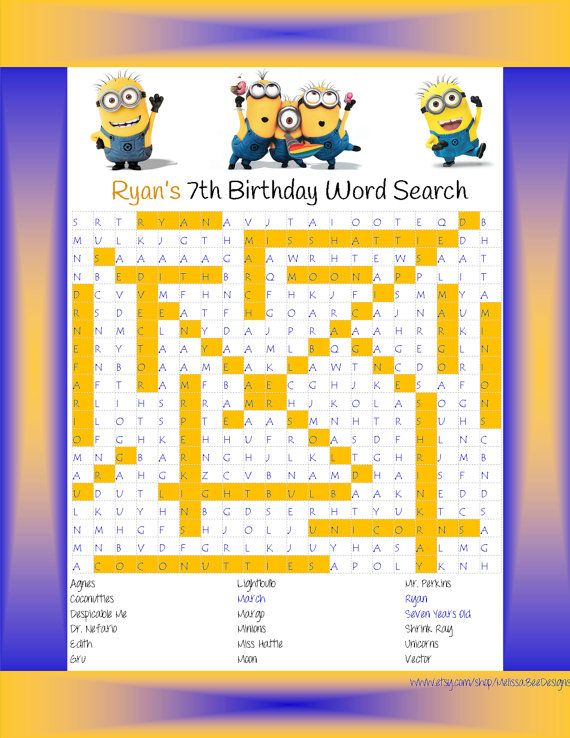 personalized word search despicable me minions theme for