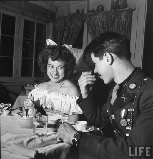 Conversation over dessert, Southwest High School Kansas City ROTC Ball, LIFE magazine, 1945. Photo by Myron Davis.