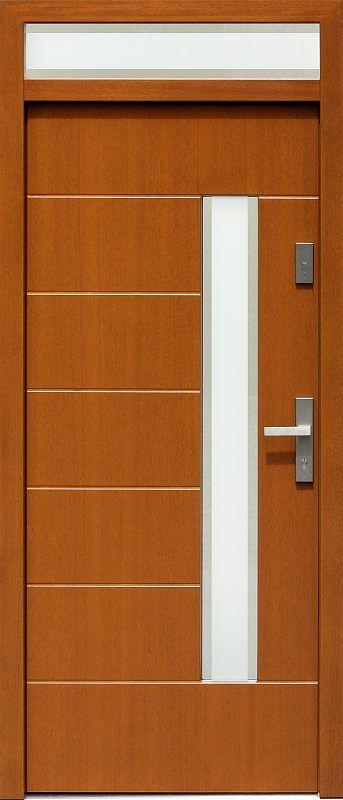 Drzwi z naświetlem górnym z szybą wzór 478,2+ds2 w kolorze złoty dąb.