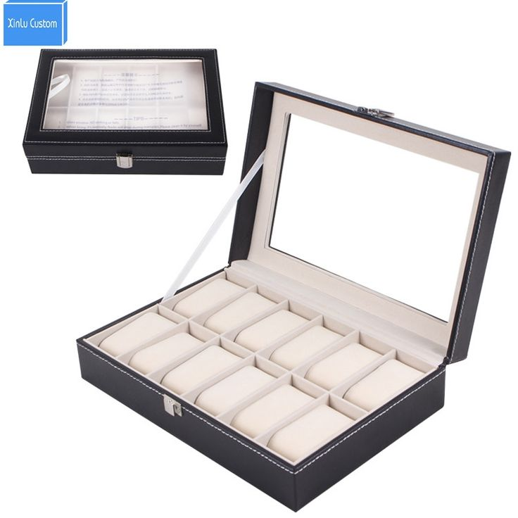 44.98$  Watch here - Black Leather 12 Grids Display Watch Box Jewelry Case Organizer Holder Boxes Caja de Reloj Rangement Montre  #buyonline