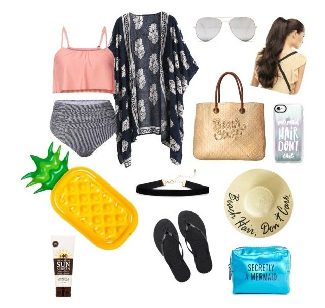 """Beach Bound 🌊"" by avasims3612 ❤ liked on Polyvore featuring White Stuff, Sunny Rebel, Sunnylife, Casetify, Havaianas, Pinch Provisions and Lavanila"