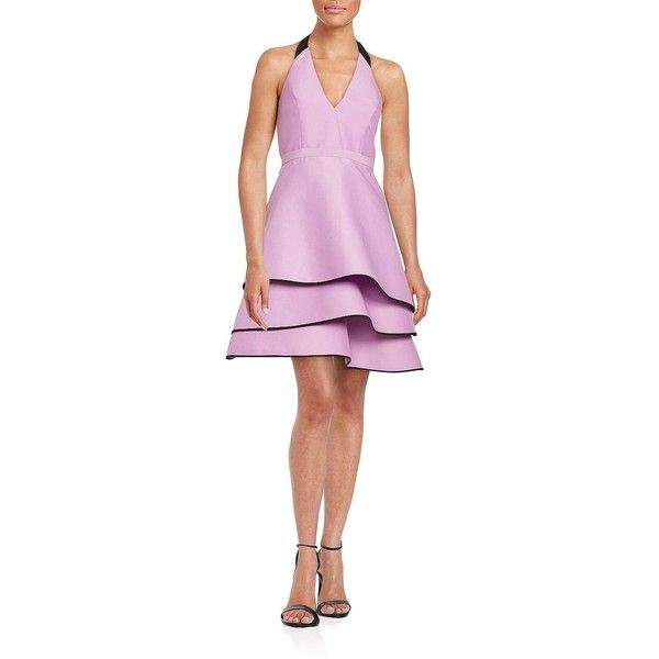 Halston Heritage Tiered Halter Dress ($128) ❤ liked on Polyvore featuring dresses, halter top, pink sleeveless dress, plunging v neck dress, pink halter dress and sleeveless dress