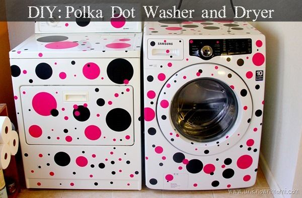 DIY Polka Dot Washer and Dryer. Easy and cute make-over! #LowesCreator