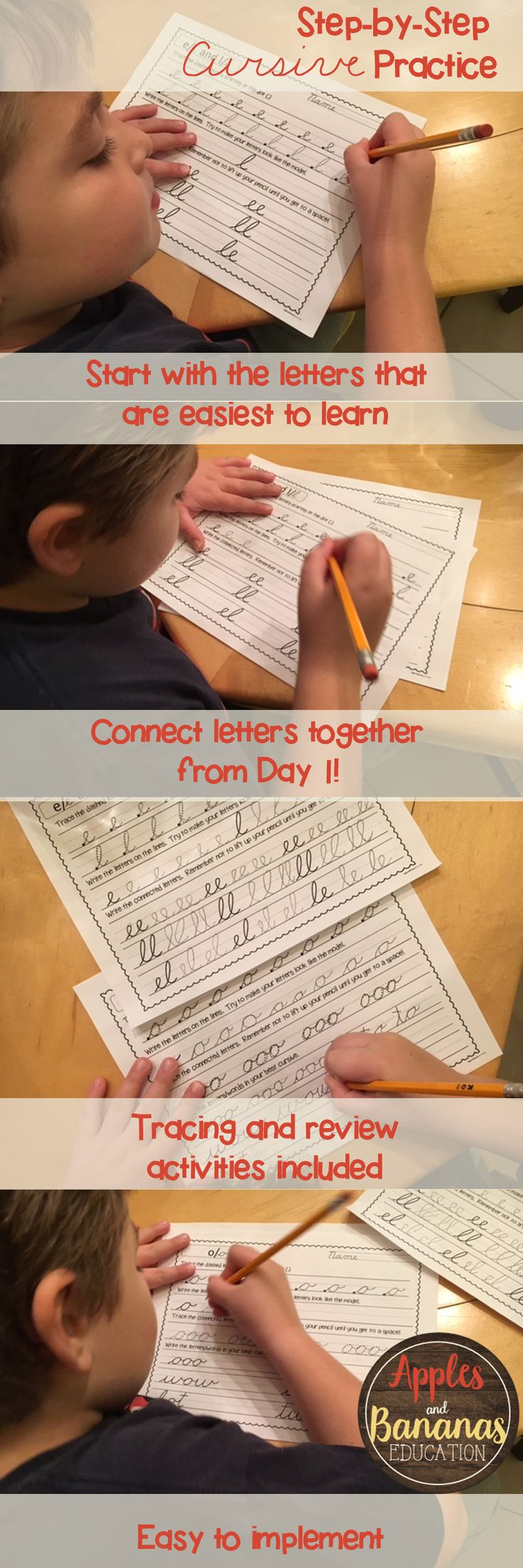 Teach cursive handwriting in an easy and progressive way.  Help students learn how to connect letters together from Day 1 instead of waiting until they've learned the entire alphabet.  Includes tracing and review activities.