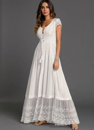 Solid Embroidery Peasant Maxi Shift Dress – White XL