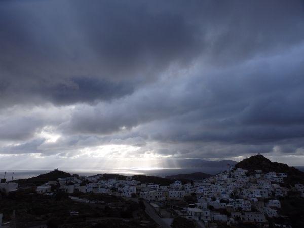 Winter evening in Ios island