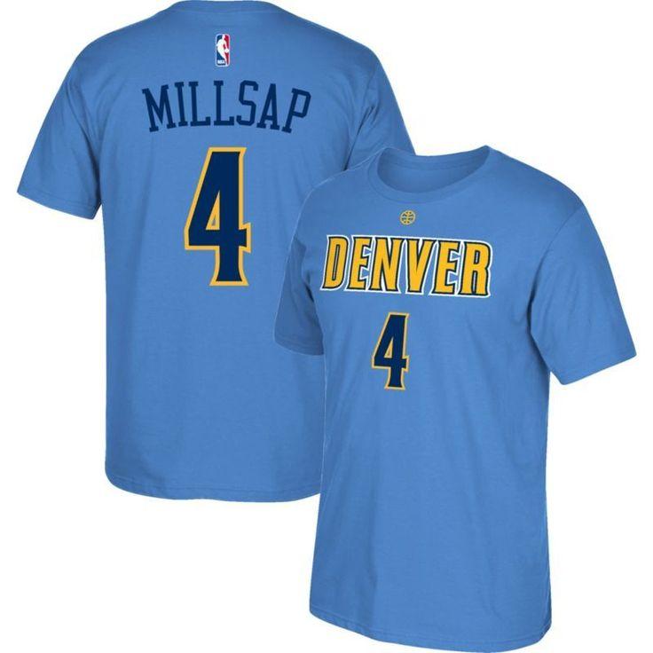 adidas Men's Denver Nuggets Paul Millsap #4 Light Blue T-Shirt, Size: Medium, Team