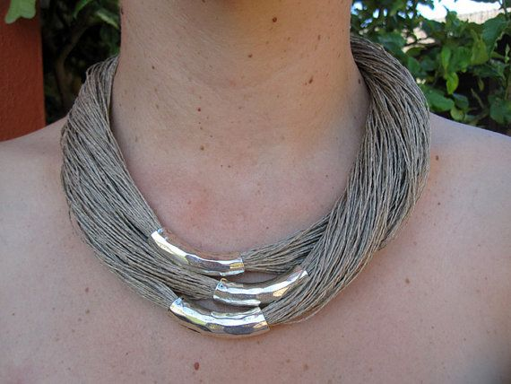 Necklace Linen Natural Soft Fantasy Cylinders Metal by espurna88