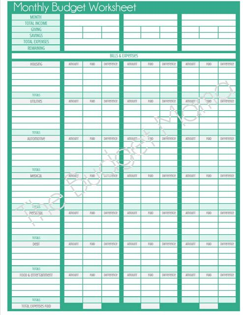 The Budget Mama: {Updated} Monthly Budget Printable