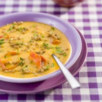 Recept voor linzen-pompoensoep met chorizo