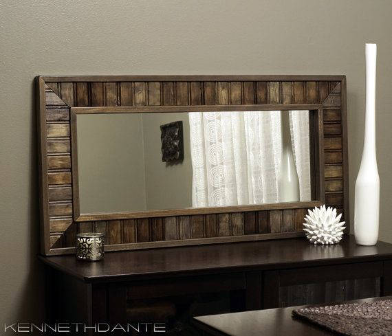 Fake Fireplace Tropical Bathroom Mirrors And Modern: Rustic Mirror Distressed Wood Beadboard Mosaic Mantle