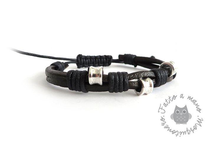 Bracciale da UOMO con inserti in metallo argentato pelle lucida e cordino nero, by Mosquitonero Shop, 8,90 € su misshobby.com