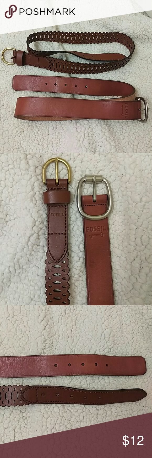 Lot of 2 small leather Fossil brand belts I have never worn these. 2 Fossil brand Leather belts in excellent condition. Both size small Fossil Accessories Belts