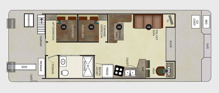 Houseboat Floor Plans 8x25 46 Voyager Xl Class