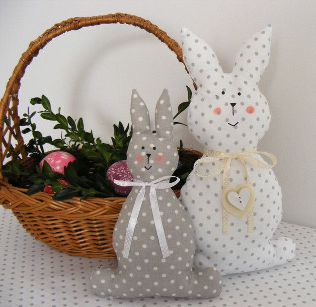 Ornaments – Easter bunny couple in a cottage-style decoration – a unique product by BettyPillows on DaWanda