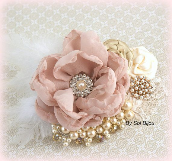 Bridal Hair Clip Blush Pink Gold Tan Beige Champagne by SolBijou