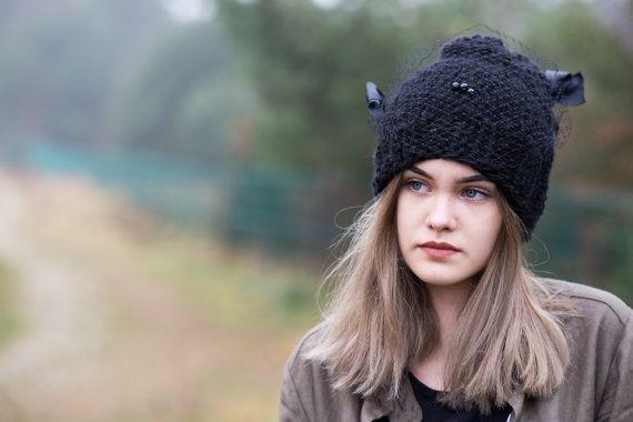 Women's Hat Winter black Women Hat Slouchy Beanie Slouchy Hat Winter Hat Slouch Beanie Knit Winter Hats Women  Romantic hat  Ready to ship