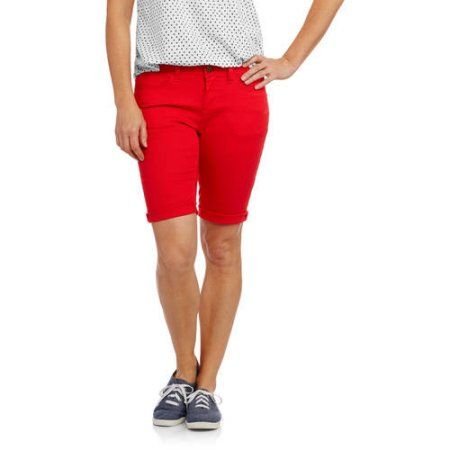 Faded Glory Women's Classic Denim Bermuda Shorts, Size: 12, Red