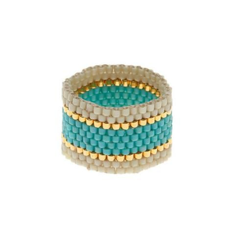 Sidai Designs Wide Woven Ring White Turquoise and Gold