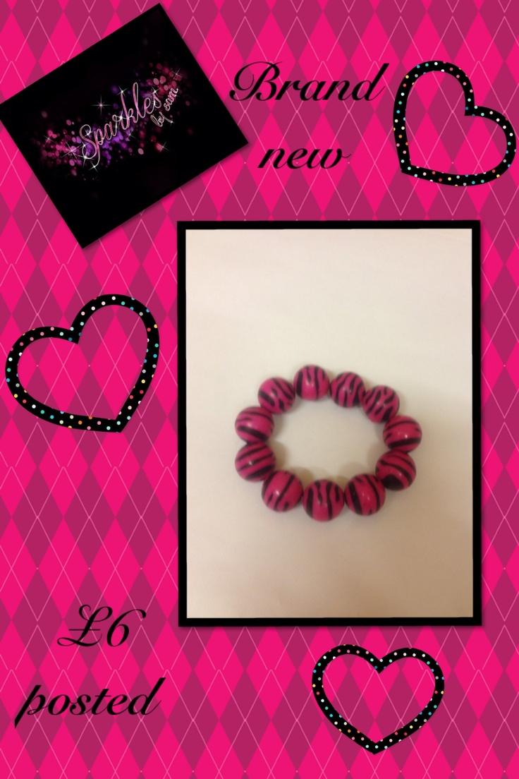 Chucky pink zebra print bracelet Email info@sparklesbysam.co.uk for information xxx