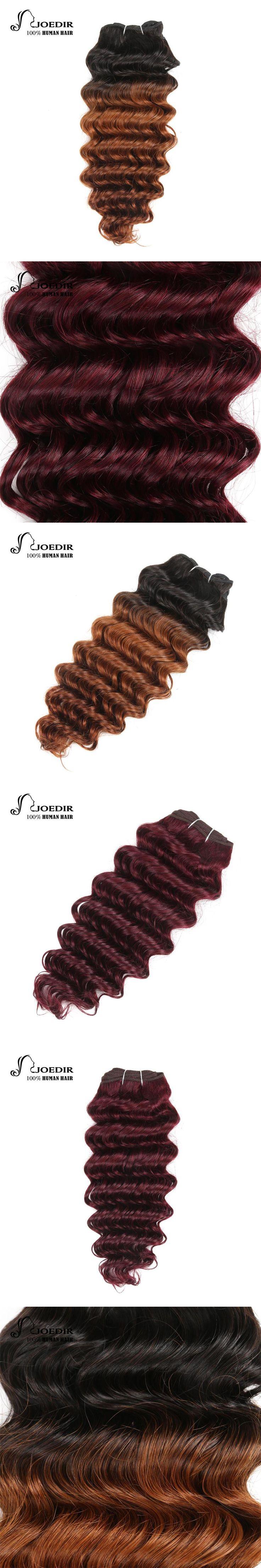 Joedir Hair Pre-Colored Brazilian Remy Human Hair Weave Nature Deep Wave #99J Burgundy Hair Bundle Deal T1B-30 Ombre Hair Bundle