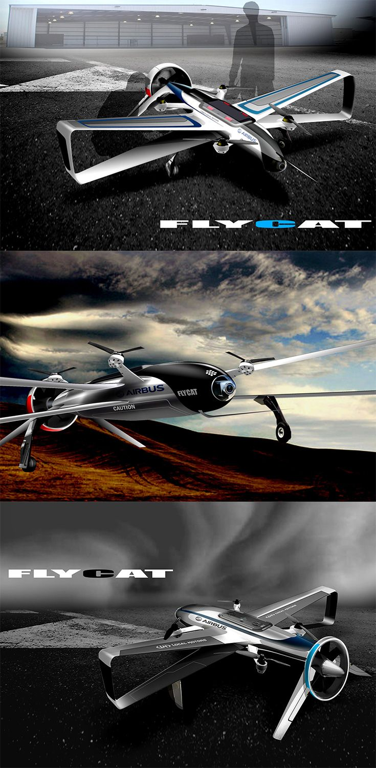 The 'FLYCAT' features four small rotors to take off and land and one big engine to fly through the sky, in combination with biplane-style wings, making  it capable of reaching high speeds with impressive stability, unlike other quadcopters that have sacrificed speed for agility... READ MORE at Yanko Design !