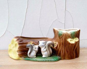 Vintage Hornsea Pottery Fauna Squirrels Posy Vase. Pattern 102
