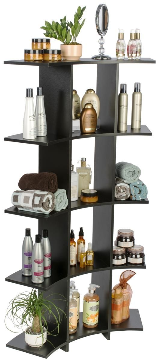Curved Wooden Shelves | 12 Contoured Open Front Storage Cubes --  Bathroom or laundry room shelving
