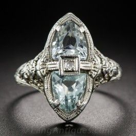 Aquamarine and Diamond Filigree Ring - What's New