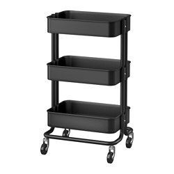 IKEA - RÅSKOG, Utility cart, The sturdy construction and four casters make it easy for you to move the cart and use it wherever you like. It even fits in tight spaces because of its small size.The adjustable middle section is easy to move to adapt to different storage needs.
