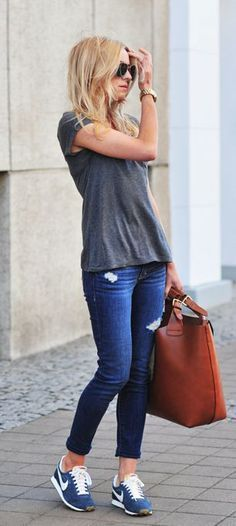 Grey T-shirt, Casual skinny jeans, Fitch, blue and white from Nike, bag from…