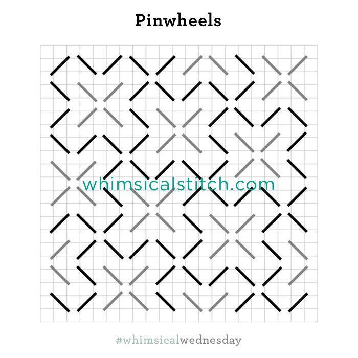 Pinwheel Stitch from February 21, 2018 whimsicalstitch.com/whimsicalwednesdays blog post.