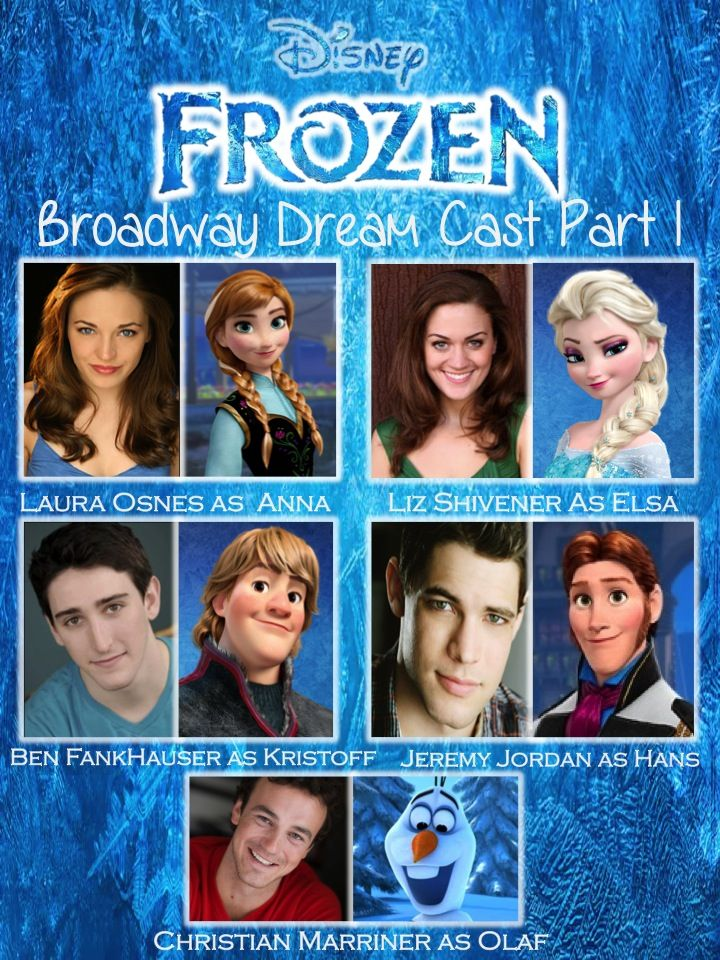 So I'm sure we've all heard about Disney's Frozen making its way to Broadway. Would absolutely LOVE to see this cast. It features: Laura Osnes(Cinderella; Bonnie and Clyde) as Anna, Liz Shivener (Beauty and the Beast; Shrek the Musical) as Elsa, Ben Fankhauser (Newsies) as Kristoff, Jeremy Jordan(Bonnie and Clyde; Newsies; NBC's Smash) as Hans, as Christian Marriner(Shrek the Musical) as Olaf. Frozen's Broadway Dream Cast Part 2 to come soon!