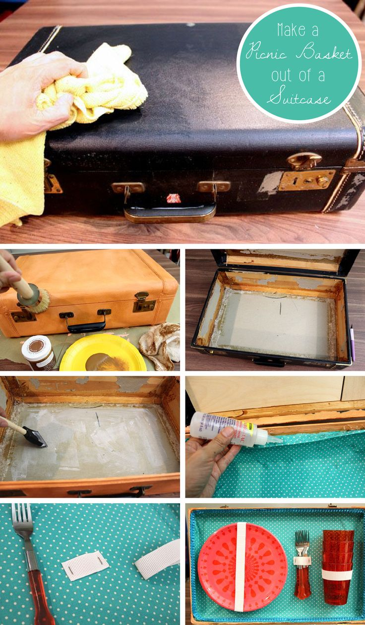 Romantic craft for two, anyone? Surprise your loved one with not only a great picnic date, but with this upcycled suitcase turned charming picnic basket!