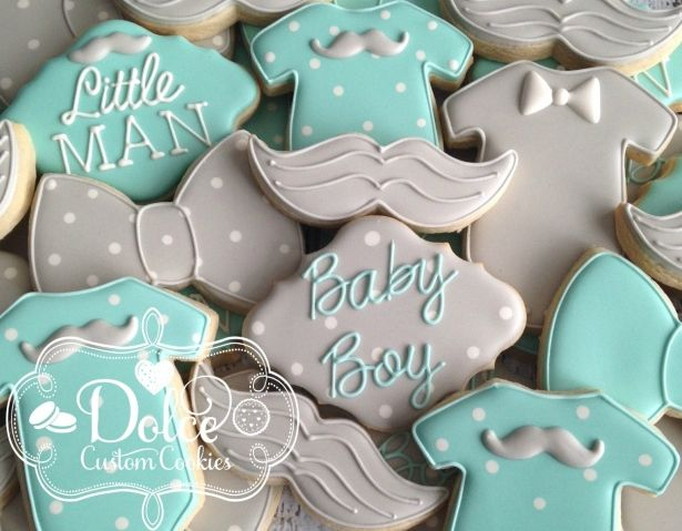 Little Man Baby Shower First Birthday Cookies - 1 Dozen (12 Pcs) by Dolce Custom Cookies on Gourmly