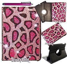 Jersey Bling® PINK Cheetah iPad Air Crystal Leather 360 Rotating Case Cover