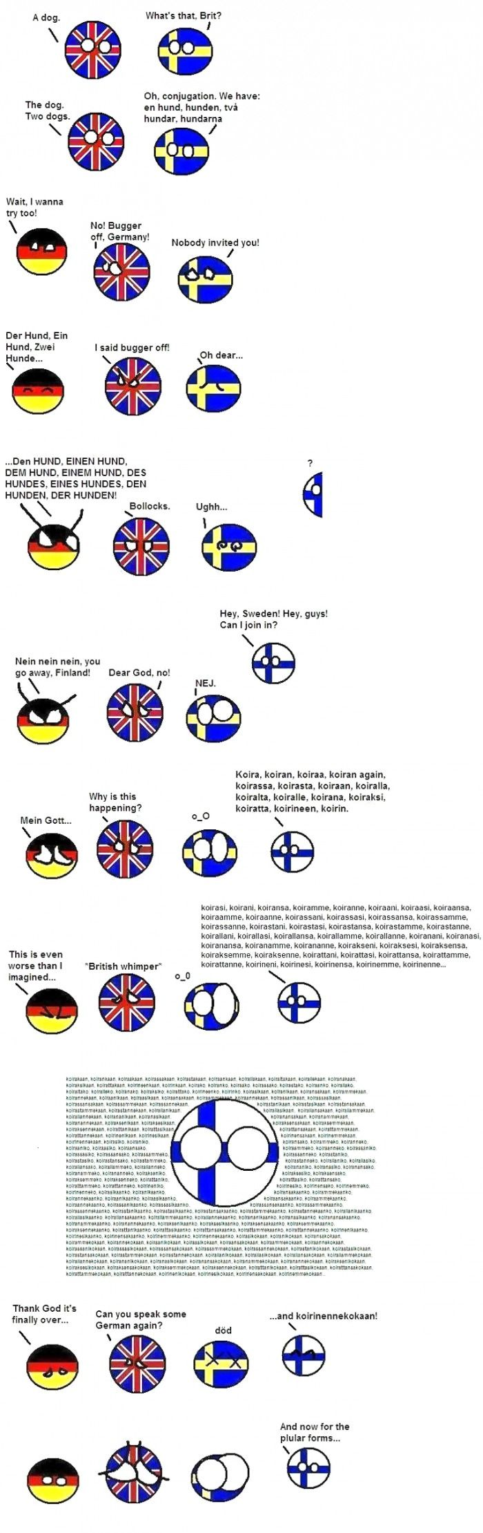 A comic strip showing the complexity of Finnish conjugation