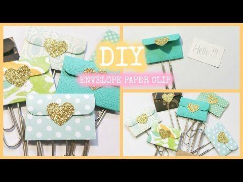 How to make an EASY Mini Envelope Paper Clip Embellishment - YouTube