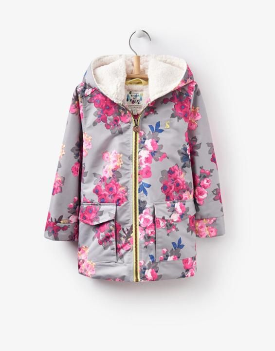 Raindrop Grey Bloom Waterproof Coat | Joules UK
