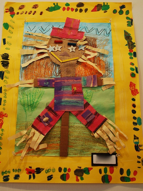 Scarecrow collage paint draw art lesson project elementary
